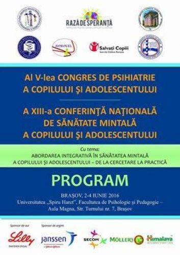 Congresul National de psihiatrie a copilului si adolescentului, Brasov 2016